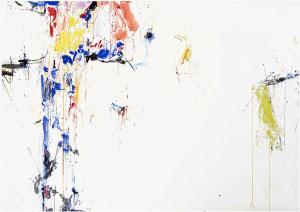 Sam Francis,Symbols and Spaces,1957 Paris/Tokyo Watercolor on paper 42 x 73 in. (106.68 x 185.42 cm)